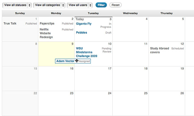 wordpress-edit-flow calendar