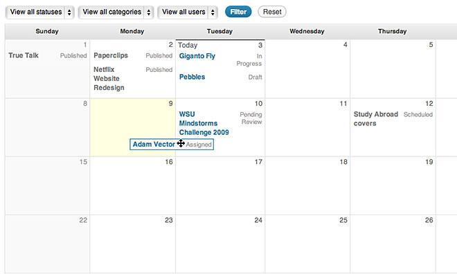 wordpress-edit-flow calendar